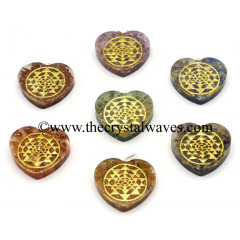 Orgone Heart Shape With Yantra Symbols Pendant Chakra Set
