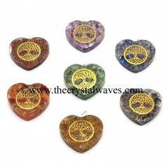 Orgone Heart Shape With Tree Of Life Symbols Pendant Chakra Set