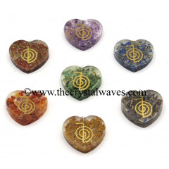 Orgone Heart Shape With Cho Ku Rei Symbols Pendant Chakra Set
