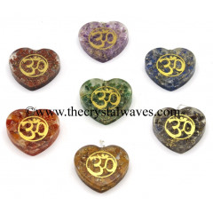 Orgone Heart Shape With Om Symbols Pendant Chakra Set