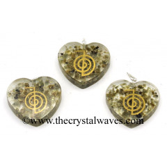 Labradorite Chips With Cho Ku Rei Symbols Heart Shape Orgone
