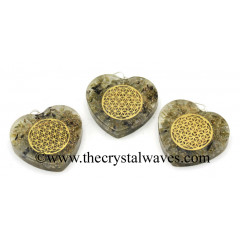 Labradorite Chips With Flower Of Life Symbols Heart Shape Orgone Pendant