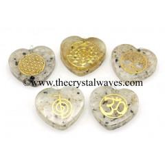 Rainbow Moonstone Chips With Mix Assorted Symbols Heart Shape Orgone Pendant