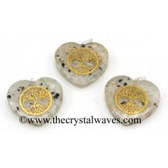 Rainbow Moonstone Chips With Tree Of Life Symbols Heart Shape Orgone Pendant