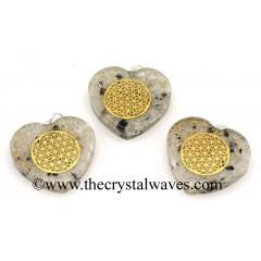 Rainbow Moonstone Chips With Flower Of Life Symbols Heart Shape Orgone Pendant