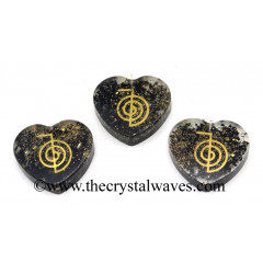 Black Tourmaline Chips With Cho Ku Rei Symbols Heart Shape Orgone