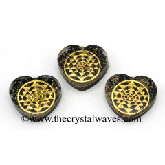 Black Tourmaline Chips With Yantra Symbols Heart Shape Orgone Pendant