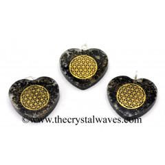 Black Tourmaline Chips With Flower Of Life Symbols Heart Shape Orgone Pendant