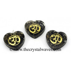 Black Tourmaline Chips With Om Symbols Heart Shape Orgone Pendant