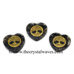 Black Tourmaline Chips With Tree Of Life Symbols Heart Shape Orgone Pendant