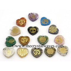 Mix Assorted Symbols Heart Shape Orgone Pendant