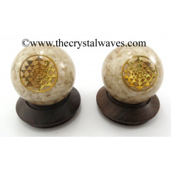 Cream Moonstone Chips Orgone Ball Sphere With Yantra Symbol