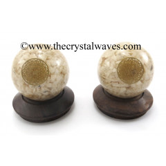 Cream Moonstone Chips Orgone Ball Sphere With Flower Of Life Symbol