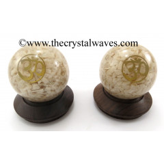 Cream Moonstone Chips Orgone Ball Sphere With Om Symbol