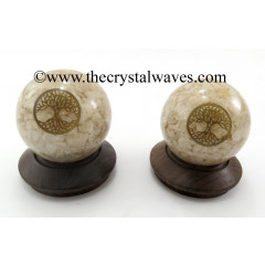 Cream Moonstone Chips Orgone Ball Sphere With Tree Of Life Symbol