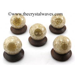 Cream Moonstone Chips Orgone Ball Sphere With Mix Assorted Symbol