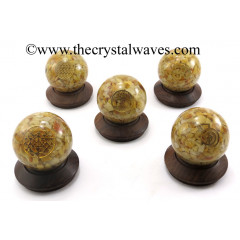 Yellow Aventurine Chips Orgone Ball Sphere With Mix Assorted Symbol