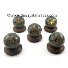 Pyrite Chips Orgone Ball Sphere With Mix Assorted Symbol