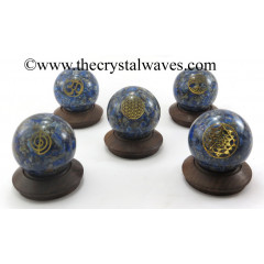Lapis Lazuli Chips Orgone Ball Sphere With Mix Assorted Symbol