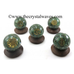 Green Aventurine Chips Orgone Ball Sphere With Mix Assorted Symbol
