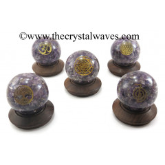 Amethyst Orgone Chips Orgone Ball Sphere With Mix Assorted Symbol