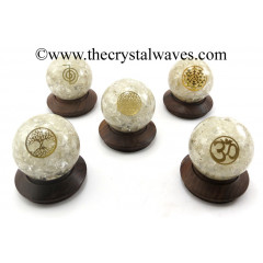 Crystal Quartz Chips Orgone Ball Sphere With Mix Assorted Symbol