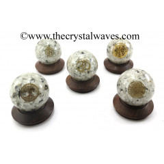 Rainbow Moonstone Chips Orgone Ball Sphere With Mix Assorted Symbol