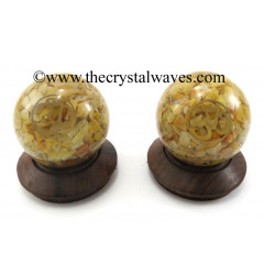 Yellow Aventurine Chips Orgone Ball Sphere With Om Symbol