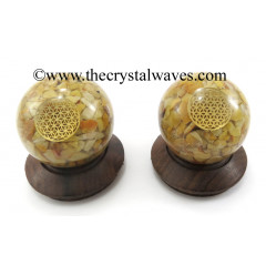 Yellow Aventurine Chips Orgone Ball Sphere With Flower Of Life Symbol
