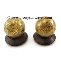 Yellow Aventurine Chips Orgone Ball Sphere With Yantra Symbol