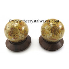 Yellow Aventurine Chips Orgone Ball Sphere With Cho Ku Rei Symbol