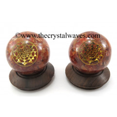 Carnelian Chips Orgone Ball Sphere With Yantra Symbol