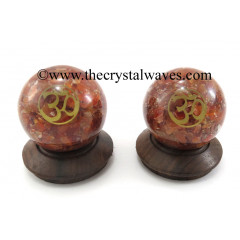 Carnelian Chips Orgone Ball Sphere With Om Symbol