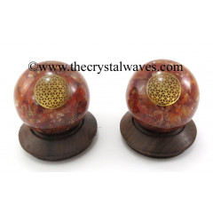 Carnelian Chips Orgone Ball Sphere With Flower Of Life Symbol