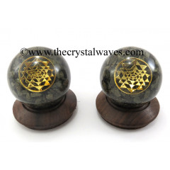 Pyrite Chips Orgone Ball Sphere With Yantra Symbol