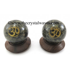 Pyrite Chips Orgone Ball Sphere With Om Symbol