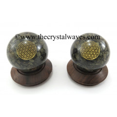 Pyrite Chips Orgone Ball Sphere With Flower Of Life Symbol