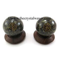 Pyrite Chips Orgone Ball Sphere With Cho Ku Rei Symbol