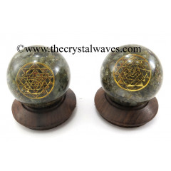 Labradorite Chips Orgone Ball Sphere With Yantra Symbol