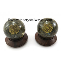Labradorite Chips Orgone Ball Sphere With Flower Of Life Symbol