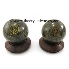 Labradorite Chips Orgone Ball Sphere With Cho Ku Rei Symbol