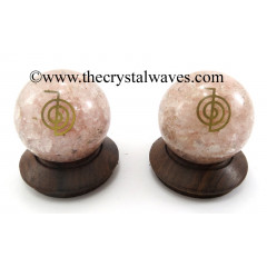 Rose Quartz Chips Orgone Ball Sphere With Cho Ku Rei Symbol
