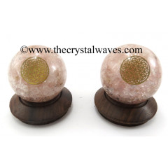 Rose Quartz Chips Orgone Ball Sphere With Flower Of Life Symbol