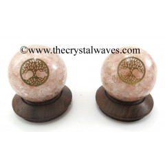 Rose Quartz Chips Orgone Ball Sphere With Tree Of Life Symbol