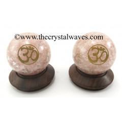 Rose Quartz Chips Orgone Ball Sphere With Om Symbol