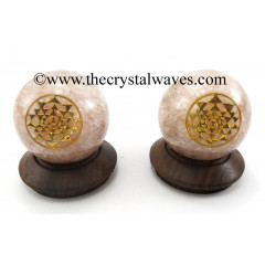 Rose Quartz Chips Orgone Ball Sphere With Yantra Symbol