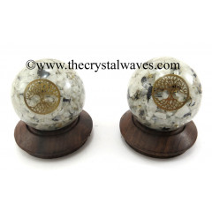 Rainbow Moonstone Chips Orgone Ball Sphere With Tree Of Life Symbol