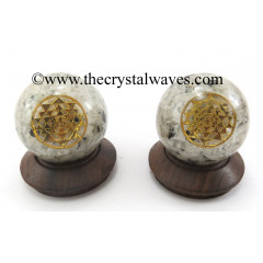Rainbow Moonstone Chips Orgone Ball Sphere With Yantra Symbol