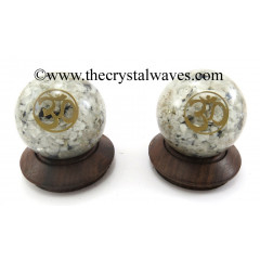 Rainbow Moonstone Chips Orgone Ball Sphere With Om Symbol