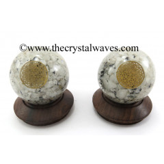 Rainbow Moonstone Chips Orgone Ball Sphere With Flower Of Life Symbol